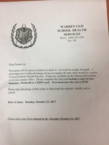 flu shot letter