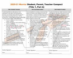 2020-21 Warrior Student, Parent, Teacher Compact