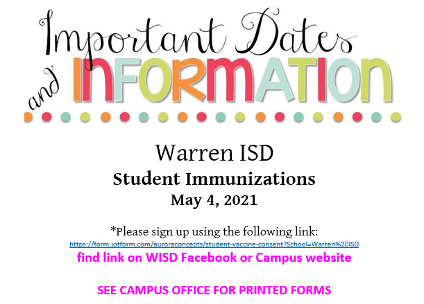 Student Vaccination Clinic May 4