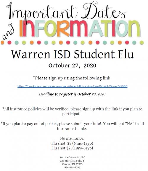 2020 Flu Vaccine Flyer