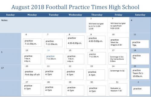 HS practice times