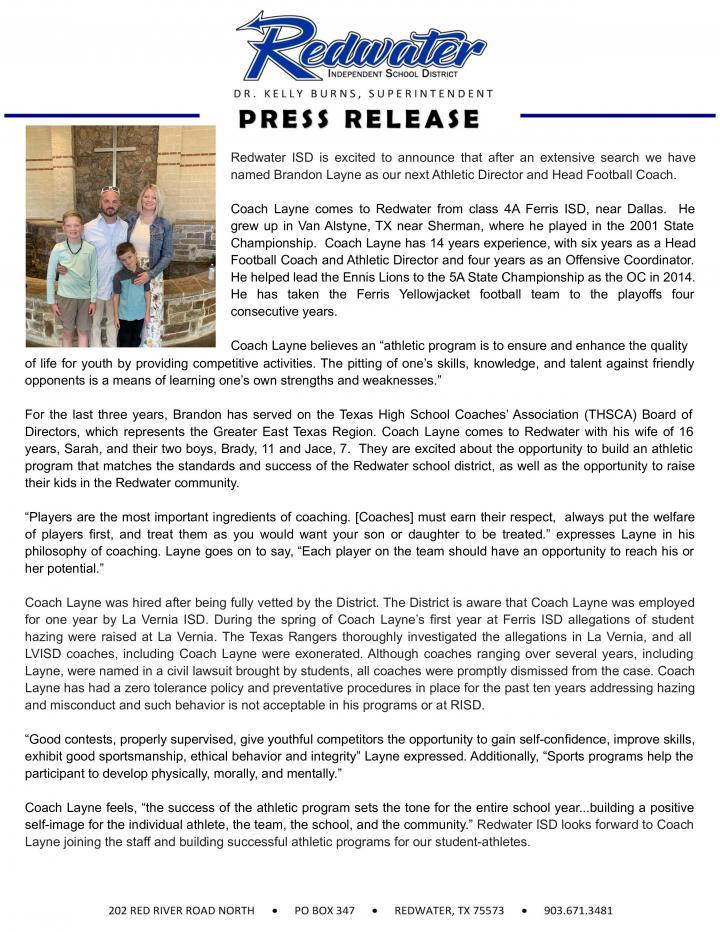 Coach Layne Press Release