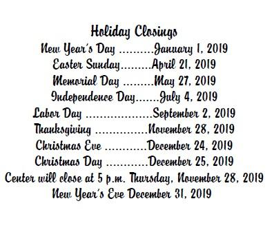 holiday closings2019