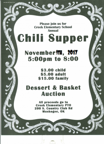 Chili supper Nov. 9