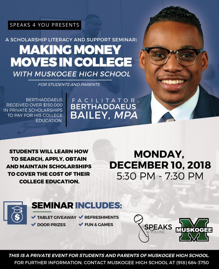 Scholarship Literacy and Support Seminar - Monday, December 10, 2018. 5:30-7:30pm