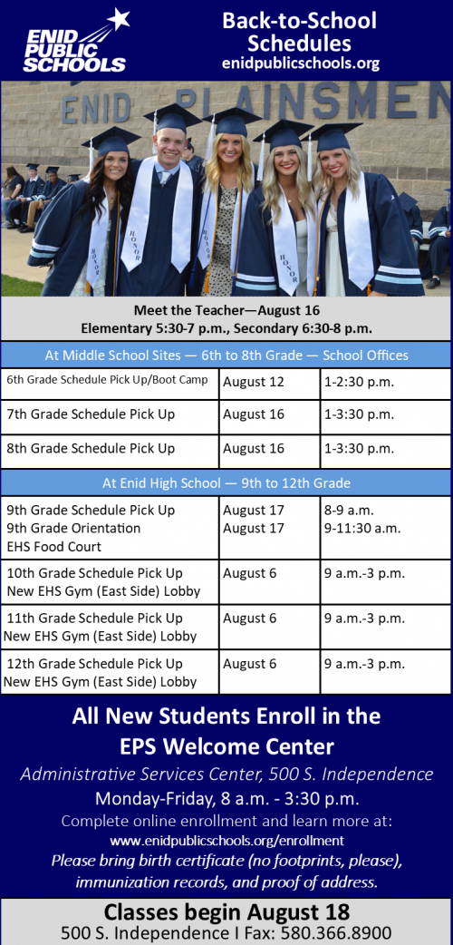 2021 back-to-school schedules