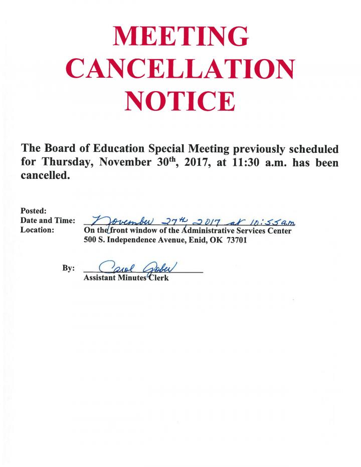 11.30.2017 Cancelled Meeting