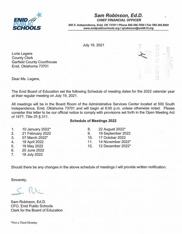 2022 board meeting schedule