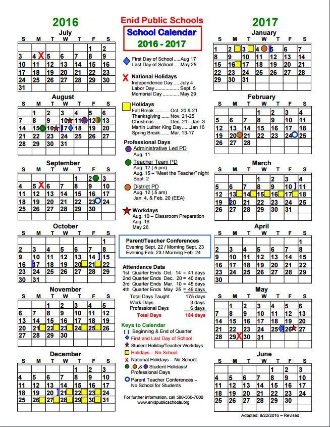 School Calendar 2016 17 : Enid public school  district calendar