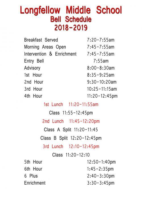 Longfellow Bell Schedule