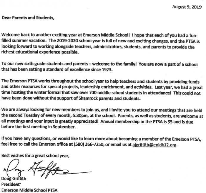 PTSA Parent Letter 19-20