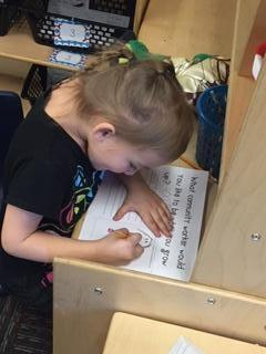 Donita is writing about what she wants to be when she grows up....a teacher!
