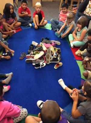 Sorting our shoes and learning about same and different in math.
