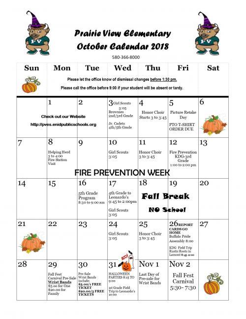 2018 October Calendar
