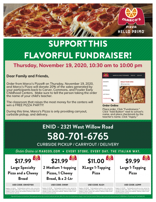 Marco's Pizza Fundraiser