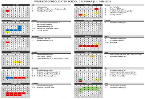 District calendar 20-21