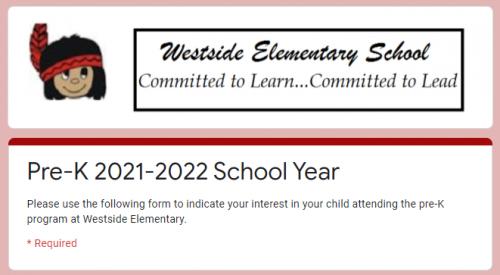 WES Pre-K Registration 2021-2022