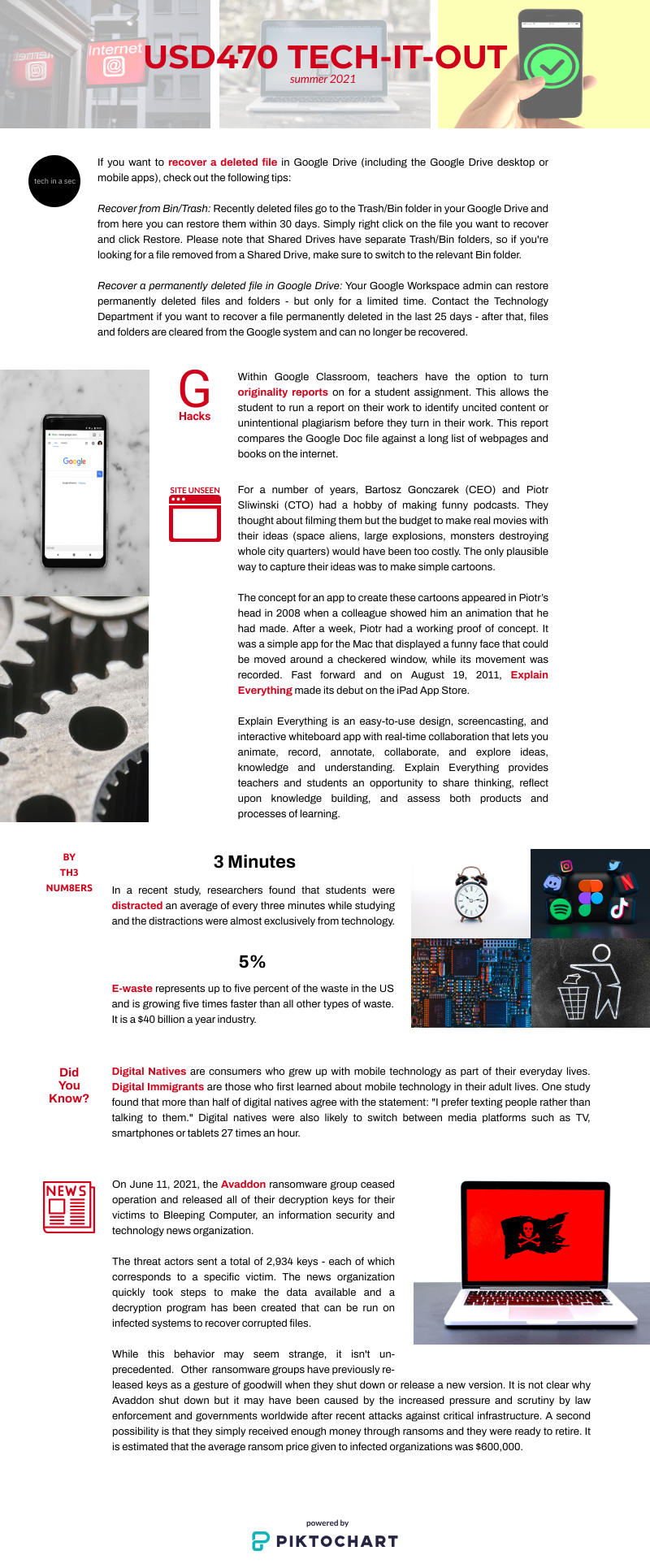 Tech It Out Infographic for June and July 2021