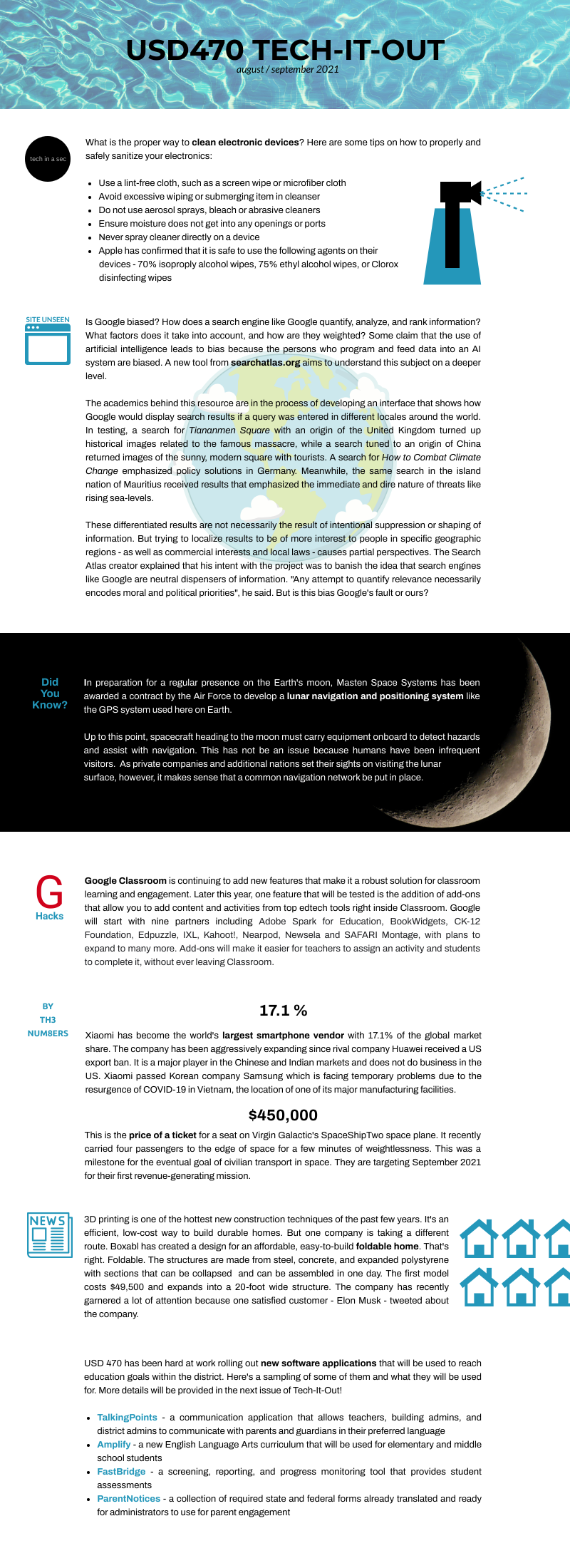Tech It Out Infographic for August and September 2021