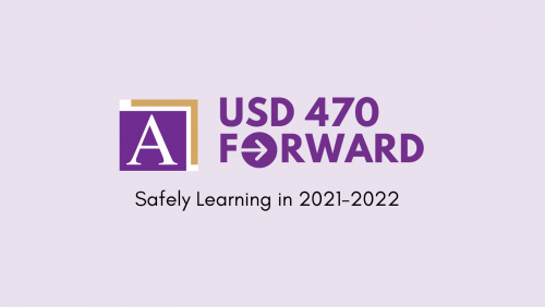 Logo: USD 470 FORWARD, safely learning in 2021-2022