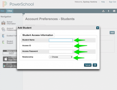 Add Student Info Visual