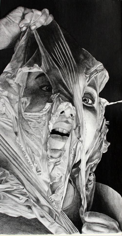Black and white drawing of a girl pulling a plastic bag off her face.
