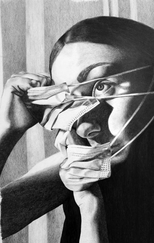 Black and white drawing of a girl pulling masks from her face.