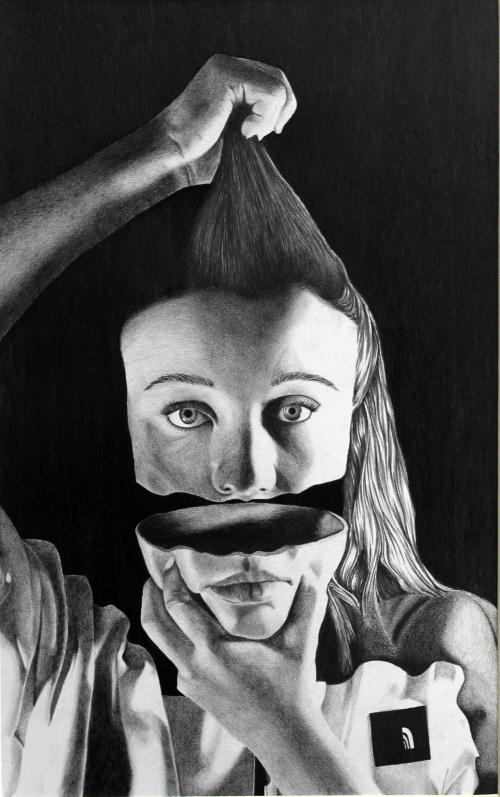 Black and white drawing of a girl pulling her hair and jaw.