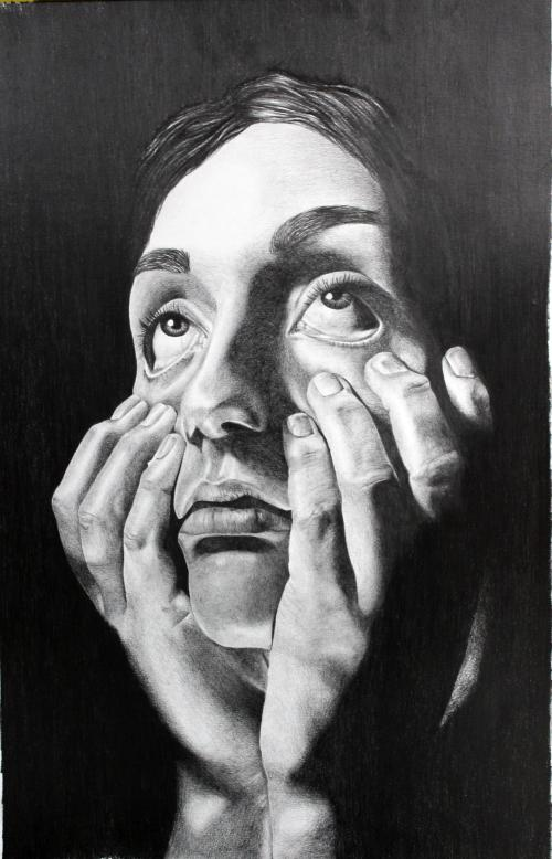 Black and white drawing of a girl.