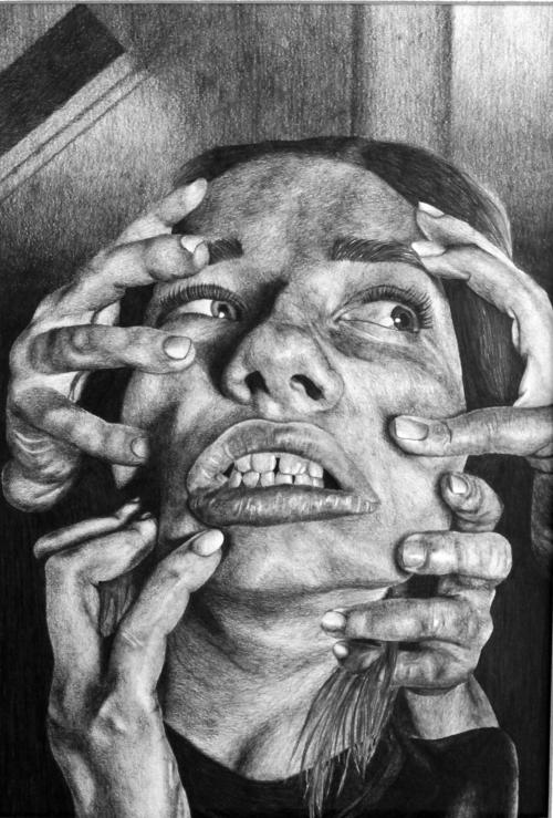 Black and white drawing of hands pulling on a girl's face.