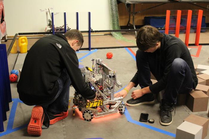 Brock and Mark working on the FTC Kelton Robot