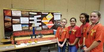 Jr High Girls Demonstrating Invention at Region 16