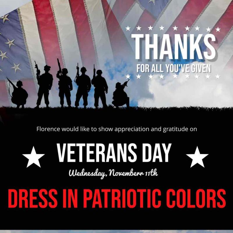 Veterans Day is Wednesday, November 11
