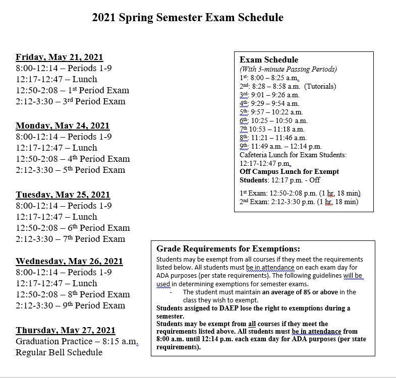 FHS Final Exam Schedule
