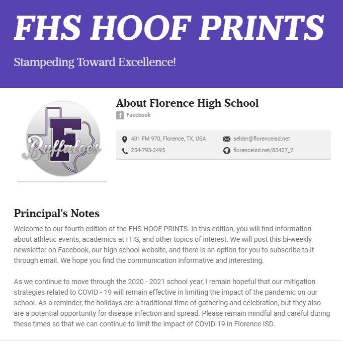 FHS Hoof Prints Newsletter - Monday, 11/16/2020