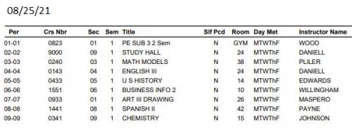 11st grade student schedule_COVID