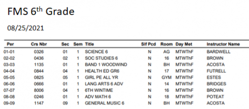 6th grade student schedule 0825