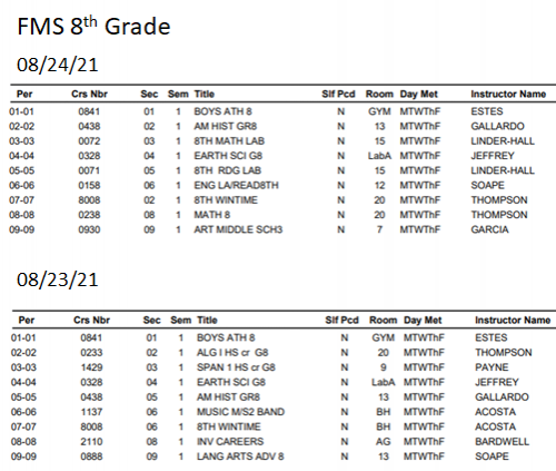 8th grade student schedules