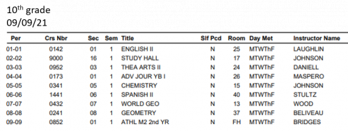 10th grade student schedule