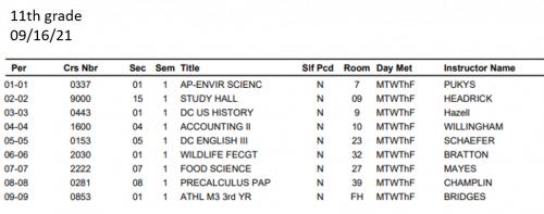 11th grade student schedule