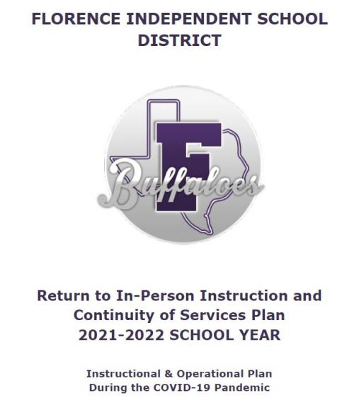 Cover Page with FISD Logo for Return to In-Person Instruction and Continuity of Services Plan
