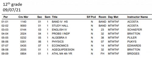 12th grade student schedule