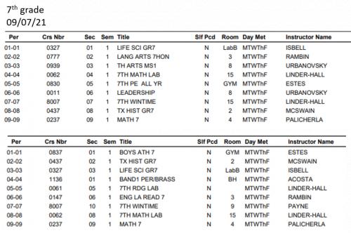 7th grade student schedule