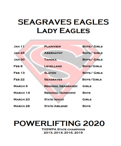Powerlifting Schedule 2020