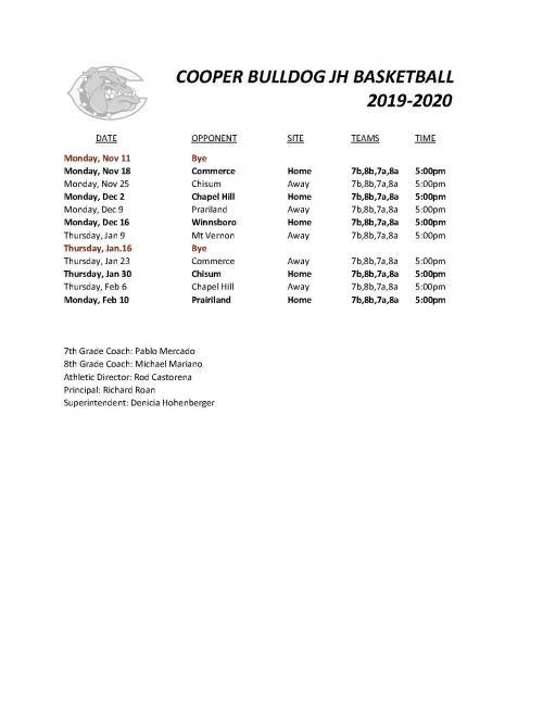 2019 JH Boys Basketball Schedule