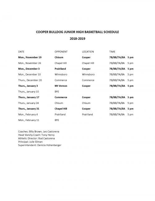JH Boys Basketball Schedule 18-19