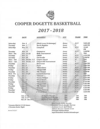 Dogette Basketball Schedule 2017-2018