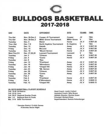 Bulldog Basketball Schedule 2017-2018