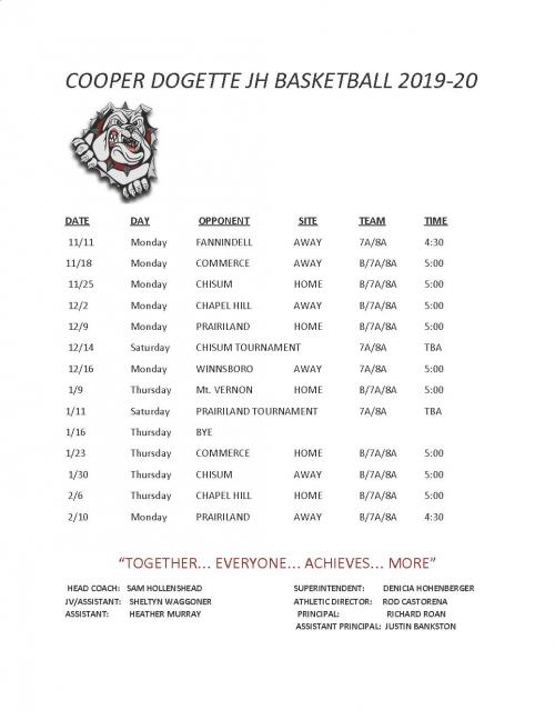 JH Girls BB Schedule 19-20