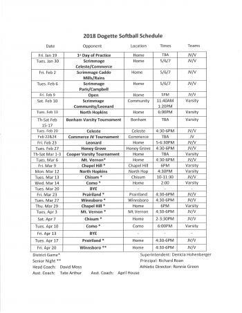 Softball Schedule 2018